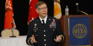 Gaining experience with information operations in Afghanistan and hosting several pilot programs will help the rise of the U.S. Army's information warfare capabilities and aid the transformation of the Cyber Command into an information operations warfare command, says Lt. Gen. Stephen Fogarty, USA, commanding general, Army Cyber Command. Photo by Michael Carpenter