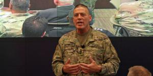 At a recent Association of the United States Army event, Lt. Gen. Paul Ostrowski, USA, outlines how the Army's new Futures Command will work with the service's acquisition community. Photo credit: Anna Neubauer