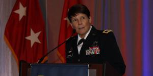 Maj. Gen. Maria Gervais, USA, STE cross-functional team director, Army Futures Command, addresses the AFCEA TechNet Augusta conference. Photo by Michael Carpenter