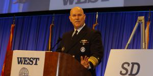 Adm. Christopher Grady, USN, U.S. Fleet Forces commander, speaks at West 2019.