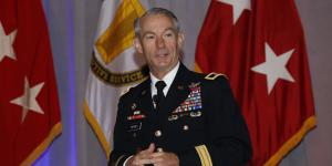 Maj. Gen. Neil Hersey, USA, commander, of the U.S. Army Cyber Center of Excellence and Fort Gordon, speaks at TechNet Augusta. Photo by Michael Carpenter