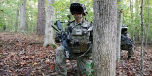 A soldier dons the Capability Set 3 (CS 3) militarized form factor prototype of the Integrated Visual Augmentation System (IVAS) during a Soldier Touchpoint 3 live fire test event at Fort Pickett, Virginia, in October 2020. U.S. Army photo by Courtney Bacon