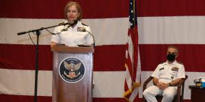 Following her tenure as commander of Office of Naval Intelligence, Vice Adm. Kelly Aeschbach, USN, stepped into the role of commander of Naval Information Forces in May. Here the vice admiral is pictured speaking during a ceremony in May 2021 with now-retired Vice Adm. Brian Brown, USN, looking on. Credit: U.S. Navy/Robert Fluegel