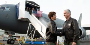Gen. Jacqueline Van Ovost (l), USAF, who is now the commander of Air Mobility Command, greets the since retired Gen. Paul Selva, USAF, who was vice chairman of the Joint Chiefs of Staff, before they flew the third and fourth delivered KC-46A Pegasus refueling aircraft in January 2019, from Boeing at King County International Airport in Seattle. Credit: DOD Photo by U.S. Army Sgt. James McCann