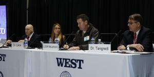 WEST 2020 panelists discuss AI. Photo by Michael Carpenter