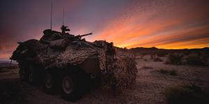 A Marine Corps Light Armored Vehicle-25 is used to secure a position during a combat readiness evaluation at Marine Corps Air Ground Combat Center Twentynine Palms, California. The Marine Corps Systems Command foresees many opportunities for small businesses as it helps reshape the Corps for the future.