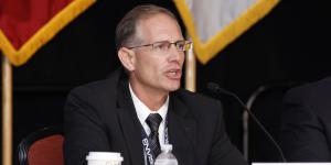David May, senior intelligence advisor, U.S. Army Cyber Center of Excellence and Fort Gordon, Georgia, speaks during a panel at the AFCEA TechNet Augusta conference. Photo by Michael Carpenter