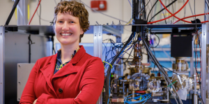 Sandia National Laboratories physicist Susan Clark leads the team that built the Quantum Scientific Computing Open User Testbed. The ion-based quantum computer was made for outside researchers to use.  Photo by Bret Latter