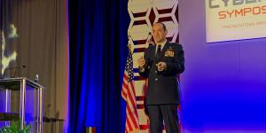 Maj. Gen. Kevin Kennedy, USAF, assistant deputy CIO, Digital Transformation, and assistant deputy chief of staff for Cyber Effects Operations, speaks at the AFCEA Rocky Mountain Cyberspace Symposium.