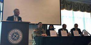 The Army is learning lessons as it makes its way through cybersecurity vulnerability identification of its major weaponry, according to Col. Bryan Stephens (2nd from l), USA, director, Cyber Focal, Army System of Systems Engineering and Integration, at a recent AFCEA Aberdeen event and interview with SIGNAL Magazine.