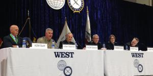 U.S. Navy, Marine Corps and Coast Guard officers speak during a panel at WEST 2020.