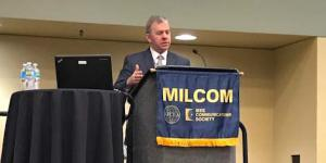 Robert Tarleton, director, MILSATCOM Systems Directorate, Space and Missile Systems Center, Air Force Space Command, speaks at MILCOM 2017.