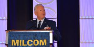 Lt. Gen. John Thompson, commander, Space and Missile Systems Center (SMC) and commander, Air Force Space Command, offers that the SMC 2.0 effort is all about shifting SMC's cultural mindset to be more innovative in satellite communications. Credit: Katie Helwig/AFCEA