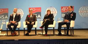 Exploring the need for intelligence in the newly emphasized space domain at the AFCEA/INSA Intelligence & National Security Summit on September 5 are (l-r) Chris DeMay, founder and CTO, Hawkeye 360; Stacey Dixon, deputy director, NGA; Tina Harrington, director, SIGINT, NRO; and Maj. Gen. John E. Shaw, USAF, deputy commander, Air Force Space Command.