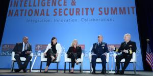"The plenary panel discussion on defense intelligence at the AFCEA/INSA Intelligence & National Security Summit  features (l-r) moderator Lt. Gen. Vincent R. Stewart, USMC (Ret.); Kari Bingen, undersecretary of defense for intelligence, U.S. Defense Department; Suzanne White, deputy director, DIA; Maj. Gen. Jeffrey Kruse, USAF, director of defense intelligence (warfighter support); and Rear Adm. Frank ""Trey"" Whitworth, USN, J-2, The Joint Staff. Credit: Herman Farrer Photography"