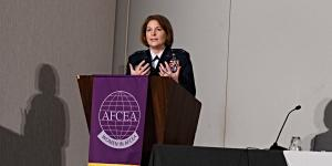 Lt. Gen. Mary O'Brien, USAF, deputy chief of Staff for Intelligence, Surveillance, Reconnaissance and Cyber Effects Operations, delivers the keynote address Wednesday at Women in AFCEA's Women in the Workforce: A Journey in STEM 2021 conference. Photo by Elizabeth Moon