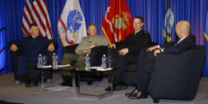 Sea service leaders addressing challenges and opportunities in a town hall format are (l-r) Adm. Paul F. Zukunft, USCG, commandant of the U.S. Coast Guard; Adm. John M. Richardson, USN, chief of naval operations; Gen. Robert B. Neller, USMC, commandant, U.S. Marine Corps; along with moderator Adm. James Stavridis, USN (Ret.), dean, The Fletcher School of Law and Diplomacy, Tufts University.