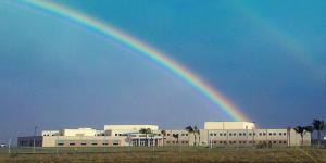 A double rainbow looms over the NSA/CSS Center in Oahu, Hawaii. The building is named after Capt. Joseph T. Rochefort, USN, whose team provided the key intelligence that helped win the 1942 Battle of Midway. The agency is looking to industry and academia for innovations vital to its changing mission. Credit: NSA/CSS