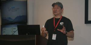 Timothy Chung, program manager, Tactical Technology Office, Defense Advanced Research Projects Agency (DARPA), briefs SIGNAL Magazine and other reporters on August 20 during DARPA's Subterranean Challenge at a coal mine research facility in Pittsburgh.