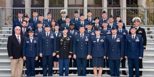 The Air Command and Staff College at Maxwell Air Force Base in Montgomery, Alabama, is training leaders for joint all-domain warfare through its rigorous year-long Joint All-Domain Strategist course. Students from the 2017-2018 course pose with their instructors. The course is growing in stature, given the need for such warfighting abilities. Credit: Air University Public Affairs Photo by Airman 1st Class Charles Welty.