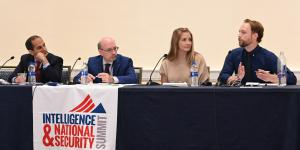 Panelists at the AFCEA/INSA Intelligence & National Security Summit discussing the hard truth about disinformation are (l-r) Sujit Raman, associate deputy attorney general, U.S. Department of Justice; Daniel Kimmage, principal deputy coordinator, Global Engagement Center, State Department; Suzanne Kelly, CEO, The Cipher Brief; and Brett Horvath, president, Guardians.ai. Credit: Herman Farrer Photography