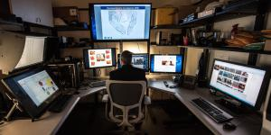 An HSI investigator works with facial recognition software. Photo courtesy U.S. ICE