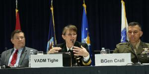 Vice Adm. Jan Tighe, deputy chief of naval operations for information warfare and director of naval intelligence, speaks at West 2017. Photo by Mike Carpenter