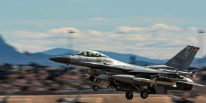 An F-16 Viper takes off at Nellis Air Force Base, Nevada, in March 2020. F-16 Vipers from the 20th Fighter Wing have played a primary role in demonstrating agile combat capabilities in joint all-domain command and control (JADC2) experiments. Leaders from the Joint All-Domain Strategist course visited Nellis in March to learn firshand from the military's JADC2 efforts.  U.S. Air Force photo by Airman 1st Class Jacob Gutierrez