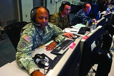 A U.S. Army soldier monitors information in a combined air and space operations center during a Red Flag exercise. Future U.S. Air Force networking will involve greater joint connectivity among its own air assets and land and sea units of other services.