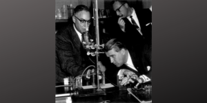 Gas Cell Battery, 1959. Dr. Werner Von Braun, chief scientist of the U.S. Army's missile program, inspects the gas cell battery under study at the U.S. Army Signal Corps Research and Development Laboratory. Arthur Daniel, left, explains how the battery converts hydrogen and oxygen to electrical power directly. Looking on is Leonard Rokaw, chief of technical information at the laboratory. Von Braun's visit included a tour of the space electronics facilities. Credit: Fort Monmouth (Images of America)