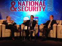 David Sanger, chief Washington correspondent for the New York Times, moderates a panel featuring Rep. Devin Nunes (R, CA) and Rep. Adam Schiff (D-CA), chairman and ranking member respectively of the House Permanent Select Committee on Intelligence as they open Day 2 of the AFCEA/INSA Intelligence and National Security Summit.