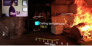 A researcher (inset) uses extended reality (XR) with digital overlays to determine how a fire spreads in a room. The National Institute of Standards and Technology (NIST) experiments with XR to evaluate materials for fire-resistant characteristics without putting humans at risk.  NIST
