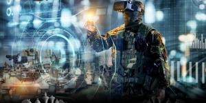 A soldier wears virtual reality glasses; a graphic depiction of a chess set sits in the foreground.  Illustration created by NIWC Pacific