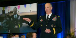 Lt. Gen. Alan Lynn, USA, director of the Defense Information Systems Agency, addresses attendees during the 2016 Defensive Cyber Operations Symposium. Photo by Michael Carpenter