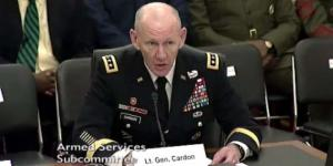 In this U.S. Army file photo, Lt. Gen. Edward Cardon, USA, commanding general of Army Cyber Command, testifies before the U.S. Senate in 2015.