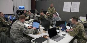 The Ohio National Guard Cyber Mission Assurance Team conducts network assessments during Cyber Shield 19. The Cyber Mission Assurance teams help secure the critical infrastructure that services U.S. Defense Department installations. Credit: Staff Sgt. George Davis, OHNG