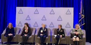 "Women leaders from the U.S. Defense Department speak during an AFCEA DC Chapter monthly breakfast. From l to r: moderator Mary Legere; Barbara Hoffman; Lt. Gen. VeraLinn ""Dash"" Jamieson, USAF; Brig. Gen. Patricia Frost, USA; and Lynn Wright."