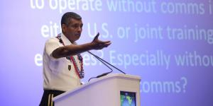 Gen. Vincent K. Brooks, USA, commander, U.S. Army Pacific, discusses how the Army trains to operate in a degraded communications environment during his keynote address at TechNet Asia-Pacific 2015.