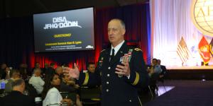 Lt. Gen. Alan Lynn, USA, director of DISA and commander of the JFHQ-DODIN, speaks at AFCEA's Defensive Cyber Operations Symposium in Baltimore.