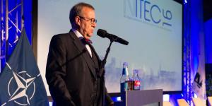 Estonian president Toomas Hendrik Ilves addresses attendees on the inaugural day of the three-day NITEC 2016 conference in Tallinn, Estonia. Photo by Marcos Fernandez Marin, NCI Agency