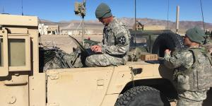 U.S. soldiers conduct cyberspace operations during a training rotation last January at the National Training Center at Fort Irwin, California. They are among several cyber organizations taking part in pilot programs to help the Army develop how it will build and employ cyber in its tactical formations.