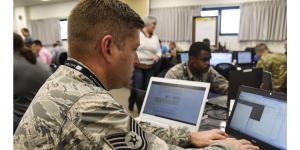 An Arkansas Air National Guard technical sergeant works in a cybersecurity incident response training exercise. The Joint Force Headquarters-Department of Defense Information Network (JFHQ-DODIN) is expanding its reach into U.S. Defense Department networks and accelerating the pace of cyber defense as it confronts new challenges from adversaries.