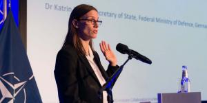 Katrin Suder, state secretary at the German Federal Ministry of Defense says cybersecurity is a game changer. Photo by Marcos Fernandez Marin, NCI Agency