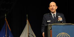 Lt. Gen. James Holmes, USAF, deputy chief of staff for strategic plans and requirements for the Air Force, gives the final keynote at AFCEA's TechNet Air symposium.