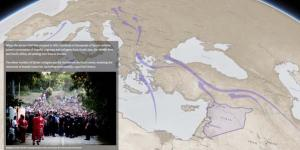 A screengrab of an interactive Esri story map uses imagery and maps to plot the migration of Syrians to Europe. Courtesy Esri via Twitter