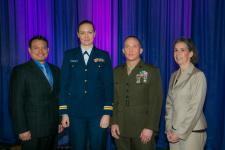 The 2016 Copernicus Award winners accepting at the Defensive Cyber Operations Symposium are (l-r) Martin J. Pfeifle, Headquarters U.S. Marine Corps; Lt. Kirsten M. Ambors-Casey, USCG, Coast Guard Base New Orleans; Maj. Nathan D. Faught, USMC, Marine Air-Ground Task Force; and Beth Heiner, Headquarters U.S. Marine Corps.