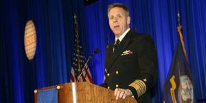 Adm. Philip Davidson, USN, commander of U.S. Fleet Forces Command, warns that the Navy is taking a risk by pushing modernization efforts to the back burner in favor of forward deployed fleet readiness. Photo by Mike Carpenter