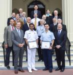 Attending the NPS ceremony recognizing AFCEA academic award winners are Adm. Mike Mullen, USN (Ret.) (front row, left), former chairman of the Joint Chiefs of Staff, and Gen. Keith Alexander, USA (Ret.) (front row, right), former director of the National Security Agency.