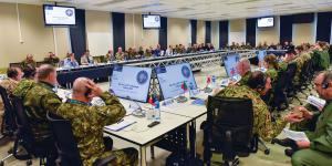 Members of the NATO Military Committee are briefed at the NATO Joint Warfare Centre in Norway. The Atlantic alliance is broadening its activities in cybersecurity amid more diverse threats and growing new technologies. Credit: NATO