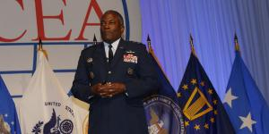 Making his last appearance at an AFCEA event as the director of the Defense Information Systems Agency, Lt. Gen. Ronnie D. Hawkins Jr., USAF, emphasizes that cyber is a weapon system.